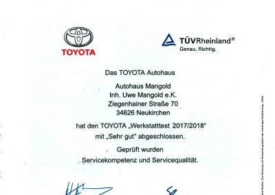 Werkstatttest-Urkunde